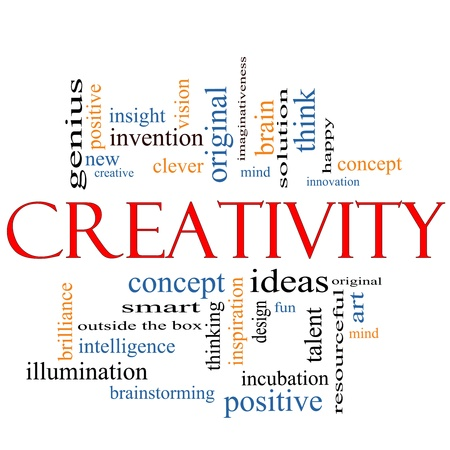 Creativity Word Cloud Concept with great terms such as design, happy, innovation, fun, incubaton, ideas and more. Banco de Imagens