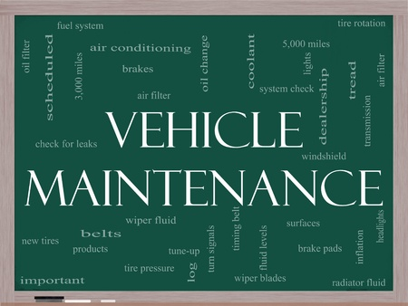 coolant: Vehicle Maintenance Word Cloud Concept on a Chalkboard with great terms such as oil change, brakes, tires, lights, coolant and more.