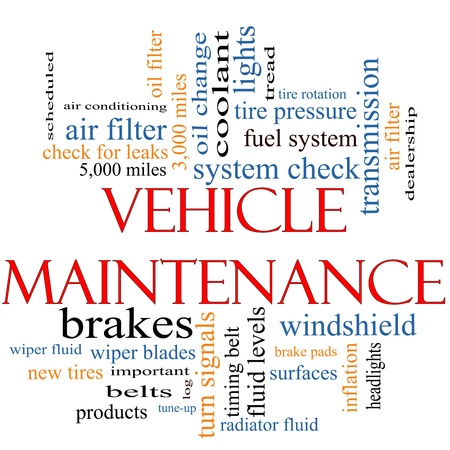 scheduled: Vehicle Maintenance Word Cloud Concept with great terms such as wipers, oil change, brakes, tires, lights, coolant and more. Stock Photo
