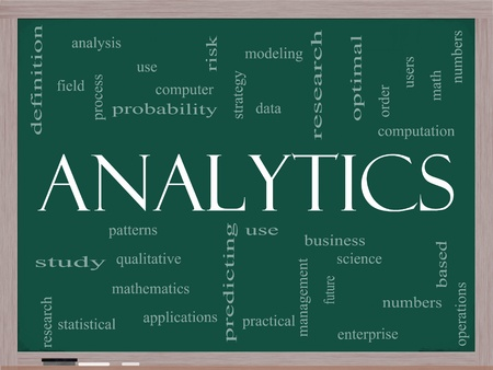 qualitative: Analytics Word Cloud Concept on a Chalkboard with great terms such as data, strategy, modeling, research and more. Stock Photo