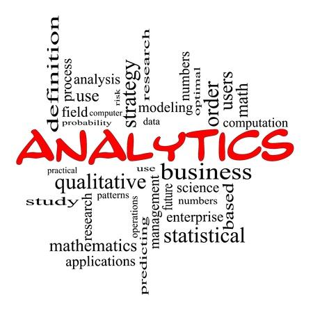 Analytics Word Cloud Concept in het rood krabbels met grote termen als data, strategie, modellering, onderzoek en nog veel meer.