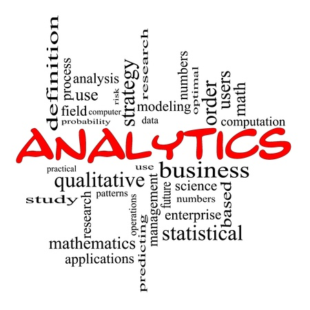 qualitative: Analytics Word Cloud Concept in red scribbles with great terms such as data, strategy, modeling, research and more. Stock Photo