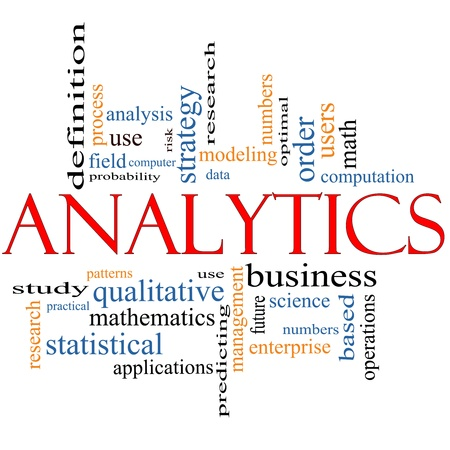 information analysis: Analytics Word Cloud Concept with great terms such as users, data, strategy, modeling, research and more.