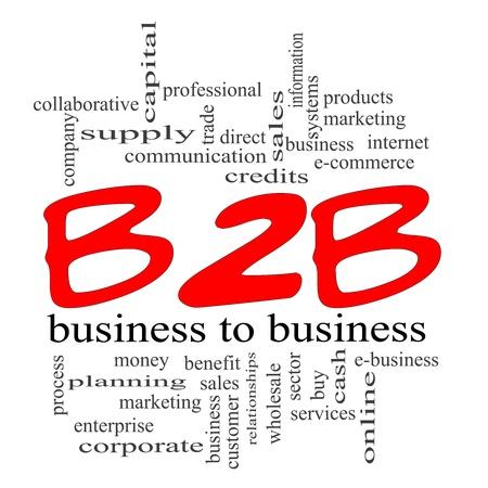 b2b: Palabra B2B concepto de nube con un concepto de garabatos de color rojo con unas condiciones de calidad, como de empresa a empresa, comercio electr�nico, servicios de venta, y mucho m�s. Foto de archivo