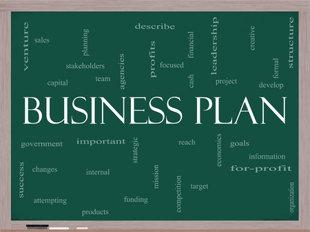 Business Plan Word Cloud Concept on a Chalkboard with great terms such as profits, project, develop, goals, information, mission and more. photo