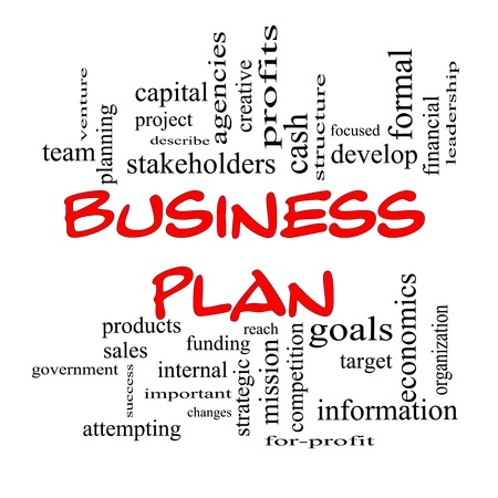describe: Business Plan Word Cloud Concept in red caps with great terms such as profits, project, develop, goals, information, mission, venture and more.