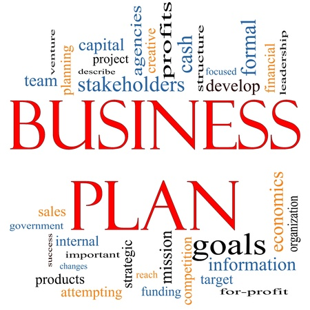 Business Plan Word Cloud Concept with great terms such as profits, project, develop, goals, information, mission, venture and more. photo