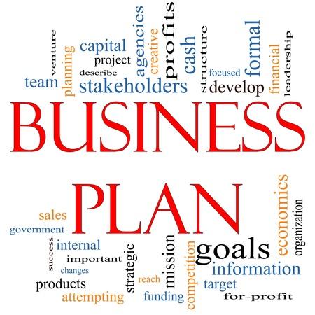 planeaci�n estrategica: Plan de Negocios Palabra Nube Concepto con los t�rminos de la talla de los beneficios, el proyecto, desarrollar, los objetivos, la informaci�n, la misi�n, empresa y mucho m�s.