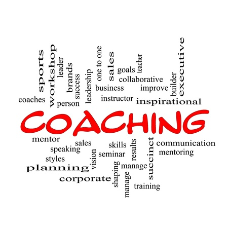 A Coaching word cloud concept scribbled with red with terms such as mentor, seminar, isntructor, sports, goals and more. Stock Photo