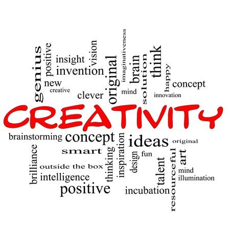 Creativiteit Word Cloud Concept krabbelde in het rood met grote termen als gelukkig, innovatie, plezier, incubaton, ideeën en nog veel meer.