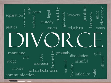 dissolution: Divorce Word Cloud Concept on a Chalkboard with great terms such as marriage, end, laws, infidelity, split, children, and more.