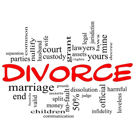 Divorce Word Cloud Concept scribbled in red with great terms such as end, marriage, end, laws, infidelity, split, children, and more. photo