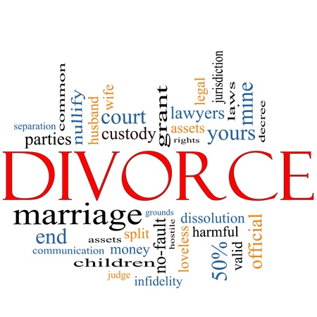 Divorce Word Cloud Concept with great terms such as , loveless, marriage, end, laws, infidelity, split, children, and more. Stock Photo - 12336544
