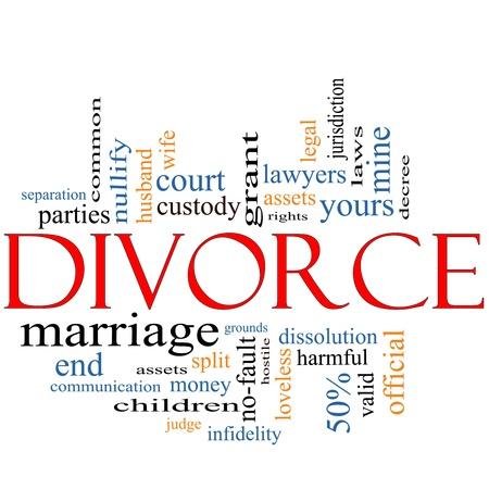 divorcio: Palabra Nube Concepto divorcio con los t�rminos de la talla, el matrimonio sin amor,, al final, las leyes, la infidelidad, separaci�n, los ni�os, y mucho m�s. Foto de archivo