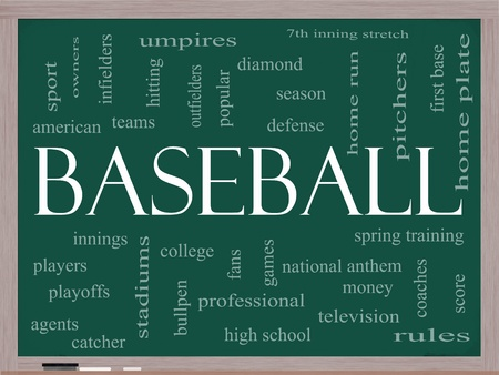 Baseball Word Cloud Concept on a Chalkboard with great terms such as innings, home run, pitchers, home plate, games and more.