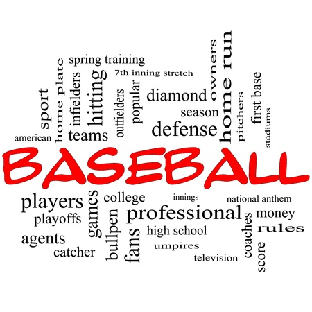 outfielders: Baseball Word Cloud Concept in red caps with great terms such as playoffs, innings, home run, pitchers, home plate, games and more.