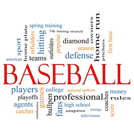 outfielders: Baseball Word Cloud Concept with great terms such as coaches, innings, home run, pitchers, home plate, games and more.