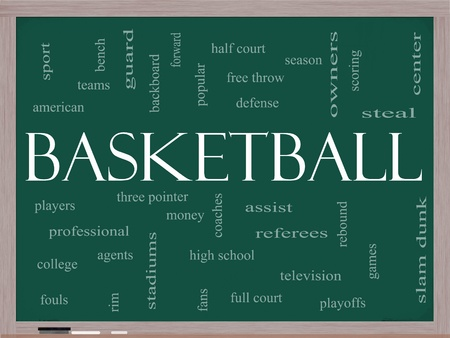 college basketball: Basketball Word Cloud Concept on a Chalkboard with great terms such as steal, rebound, slam dunk, center, assist, games and more.