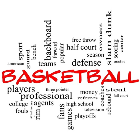 dunk: Basketball Word Cloud Concept in red caps with great terms such as guard, steal, rebound, slam dunk, center, assist, games and more. Stock Photo