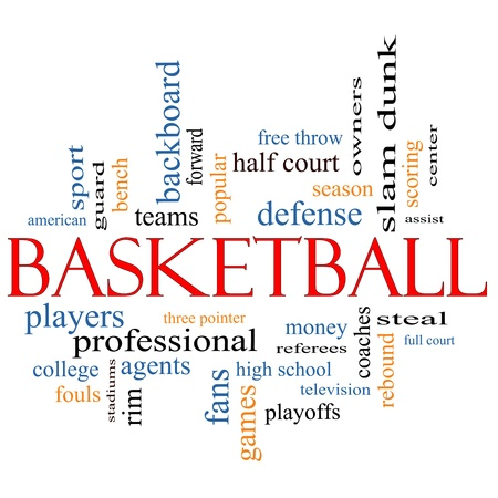 rebound: Basketball Word Cloud Concept with great terms such as coaches, steal, rebound, slam dunk, center, assist, games and more. Stock Photo