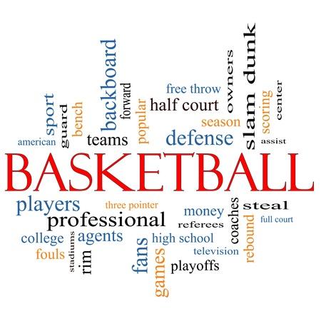 arbitros: Palabra de baloncesto concepto de nube con los términos de la talla de los entrenadores, robar, de rebote, slam dunk, centro, asistir, juegos y mucho más.