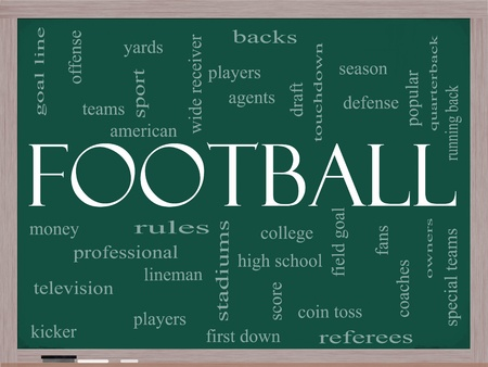 Football Word Cloud Concept on a Chalkboard with great terms such as touchdown, season, quarterback, fans, games, draft and more. photo
