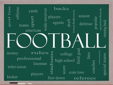 m�nzenwerfen: Fu�ball Word Wolke Konzept auf einer Kreidetafel mit gro�er Begriffe wie Touchdown, Saison, Quarterback, Fans, Spiele, Entwurf und vieles mehr.