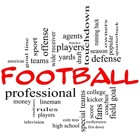 word cloud: Football Word Cloud Concept in red caps with great terms such as yards, touchdown, season, quarterback, fans, games, draft and more.