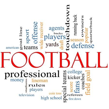 m�nzenwerfen: Fu�ball Word Wolke Konzept mit gro�er Begriffe wie M�nzwurf, Touchdown, Saison, Quarterback, Fans, Spiele, Entwurf und vieles mehr. Lizenzfreie Bilder