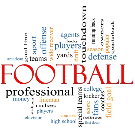 Football Word Cloud Concept with great terms such as coin toss, touchdown, season, quarterback, fans, games, draft and more.