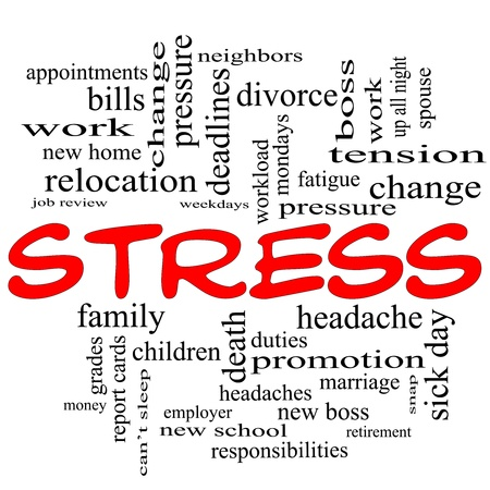 tension: A word cloud concept in red caps around the word Stress with great terms such as pressure, deadlines, family, duties, tension, change and more. Stock Photo