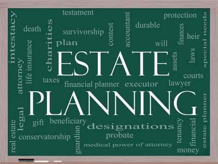 Estate Planning Word Cloud Concept on a Chalkboard with great terms such as durable, will, financials, lawyer, executor, probate and more