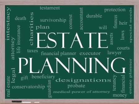 dauerhaft: Estate Planning Word Wolke Konzept auf einer Tafel mit gro�en Begriffen wie langlebig, Wille, Financials, Rechtsanwalt, Testamentsvollstrecker, Nachlass und mehr