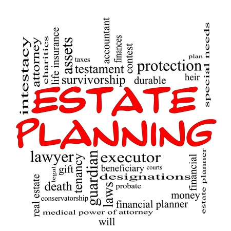 Estate Planning Word Cloud Concept in red caps with great terms such as durable, will, financials, lawyer, executor, probate and more