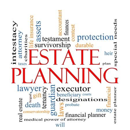 계획: 예, 임대, 내구성, 의지, 재무, 변호사, 실행자, 유언 검인 등과 같은 좋은 조건의 부동산 기획 단어 구름 개념