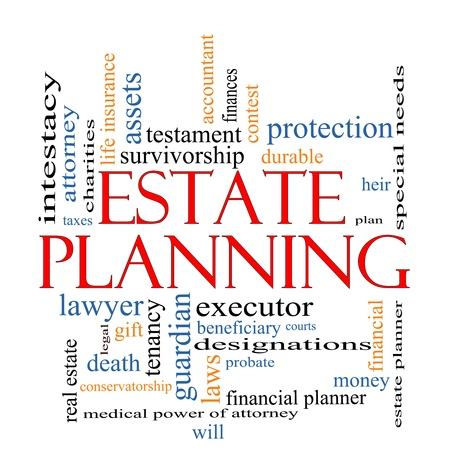 Estate Planning Word Cloud Concept with great terms such as , tenancy, durable, will, financials, lawyer, executor, probate and more  photo