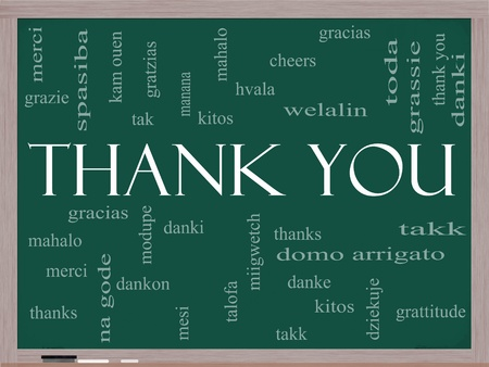 Thank You Word Cloud Concept on a Chalkboard with great terms in different languages such as mahalo, danke, gracias, kitos and more