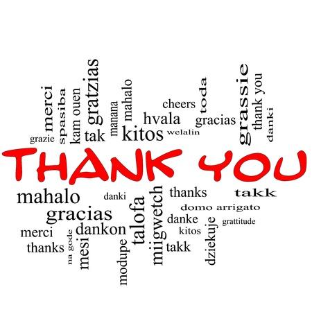 idiomas: Gracias palabra concepto nube en las tapas rojas con grandes t�rminos en diferentes idiomas como Mahalo, danke, gracias, Kitos y m�s