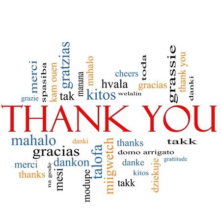 Dank u Word Cloud Concept met grote termen in verschillende talen, zoals merci, Mahalo, danke, gracias, kitos en nog veel meer