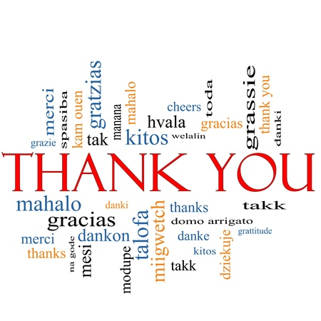 Thank You Word Cloud Concept with great terms in different languages such as merci, mahalo, danke, gracias, kitos and more  photo
