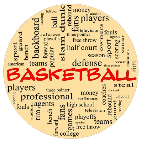 center court: A round ball shaped word cloud concept around the word basketball with great terms such as teams, players, and free, throw.