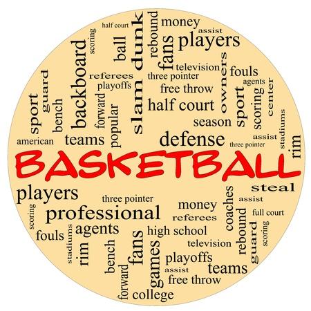 arbitros: Una bola de forma redonda concepto de nube de palabras en torno a la palabra baloncesto con los términos de la talla de los equipos, jugadores y libres, tiro. Foto de archivo