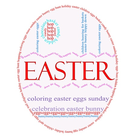 An Easter Egg word cloud with great terms such as Easter, Sunday, bunny, eggs, baskets and more. photo