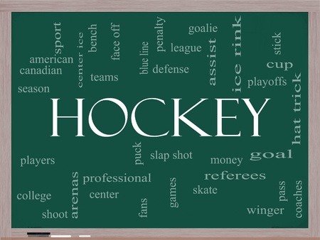 Hockey Word Cloud Concept on a Chalkboard with great terms such as slap shot, goal, ice rink, blue line and more. photo