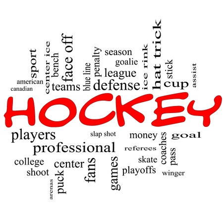Hockey Word Cloud Concept in red scribbles with great terms such as slap shot, goal, ice rink, blue line and more. photo