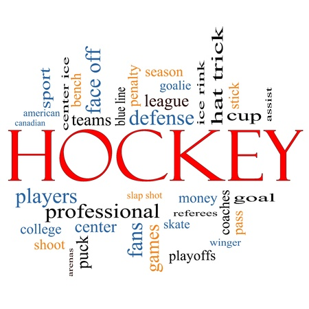 hockey goal: Hockey Word Cloud Concept with great terms such as assist, slap shot, goal, ice rink, blue line and more. Stock Photo
