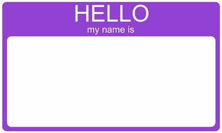 A purple name tag with the words Hello My Name Is and a blank white space for your name or text. photo