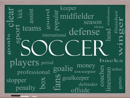 Soccer Word Cloud Concept on a Chalkboard with great terms such as goal, fans, goalkeeper, midfielder and more. Stock Photo - 12701394