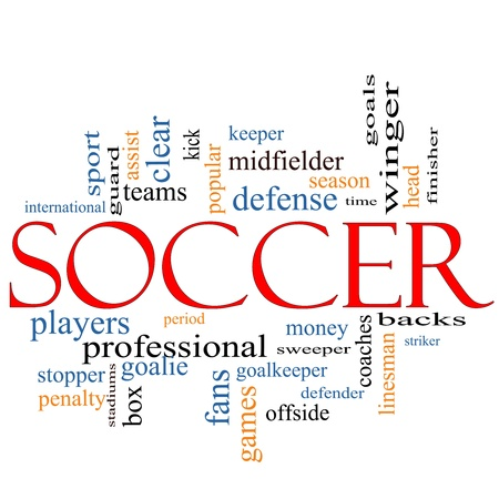 offside: Soccer Word Cloud Concept with great terms such as head, goal, fans, goalkeeper, midfielder and more.