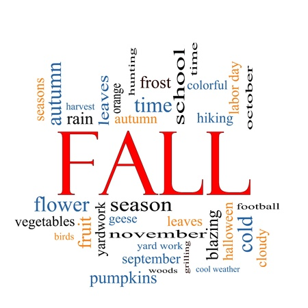 Fall or Autumn Word Cloud Concept with great terms such as halloween, color, leaves, football, october and more.